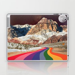 Trippy 1960s Stars and Moon Retro Red Rock Canyon Collage Milky Way Galaxy Colors Laptop & iPad Skin