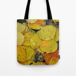 Water droplets on autumn aspen leaves Tote Bag
