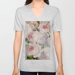 Vintage Roses and Lilacs Pattern - Smelling Dreams Unisex V-Neck