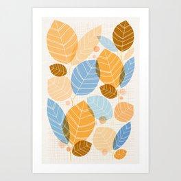 Golden Aspen / Abstract Leaf Illustration Art Print