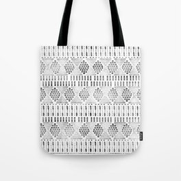 Aztec I Pattern Black and White Tote Bag