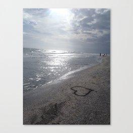 Heart on Beach Canvas Print