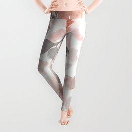 Pink, Floral Abstract Watercolor Print Leggings