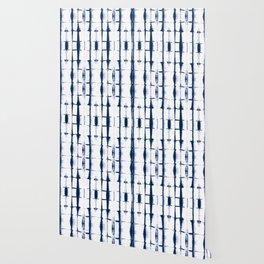 Shibori Stripes 4 Indigo Blue Wallpaper