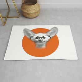Fennec Fox wearing glasses Rug