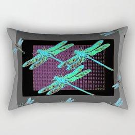 Western Black-Grey Blue Dragonflies Art Rectangular Pillow