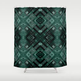 Black and green abstract pattern . Shower Curtain