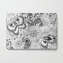 Flowers and butterflies Metal Print