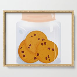 Chocolate chip cookie, homemade biscuit in glass jar Serving Tray