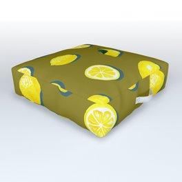 60s Lemon Pattern on Olive Outdoor Floor Cushion