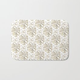 Gold Monstera on White Bath Mat