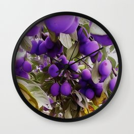 Autumn Harvest Days Plums Wall Clock