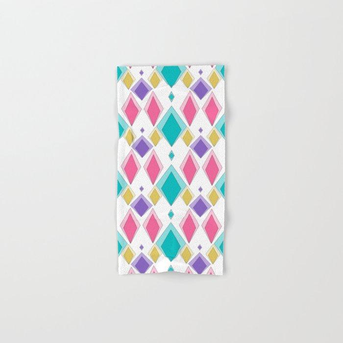 Multi-colored diamonds retro geometrical rhombus Hand & Bath Towel