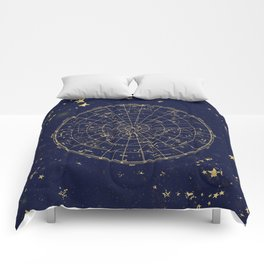 Metallic Gold Vintage Star Map 2 Comforters