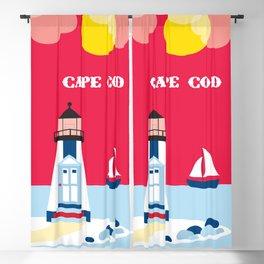 Cape Cod, Massachusetts - Skyline Illustration by Loose Petals Blackout Curtain