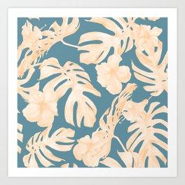Island Vacay Hibiscus Palm Leaf Coral Teal Blue Art Print