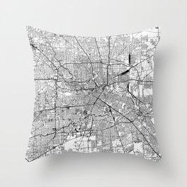 Houston White Map Throw Pillow