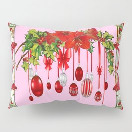 RED AMARYLLIS FLOWERS & HOLIDAY ORNAMENTS PINK DECOR Pillow Sham