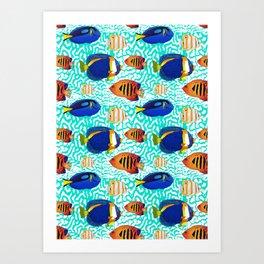 Colourful Tropical Reef Fish Pattern Art Print
