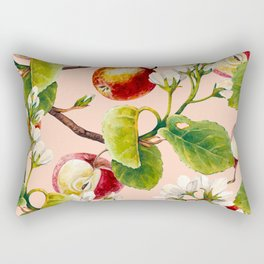 White apple blossoms and apples Rectangular Pillow