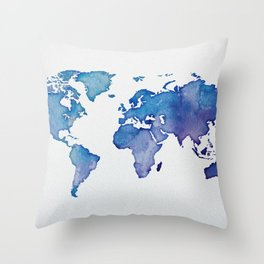 Blue World Map 02 Throw Pillow