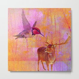 The loves platonic of the hummingbird and the deer Metal Print
