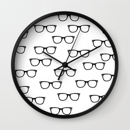 I See // Hipster Glasses Pattern Wall Clock