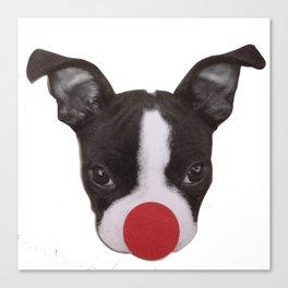 Boston Terrier Christmas Reindeer Canvas Print