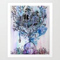 Bunny Tree House Art Print