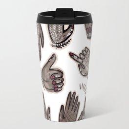 hand gestures and white henna tattoo Travel Mug