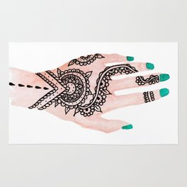 Modern watercolor hand  floral henna tattoo turquoise nails Rug
