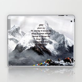 Serenity Prayer With Panoramic View Of Everest Mountain Laptop & iPad Skin