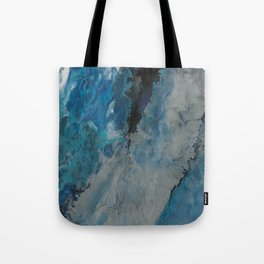 Silver Scape, abstract poured acrylic Tote Bag