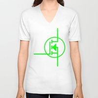 transistor V-neck T-shirts featuring N-TYPE MOSFET by EEShirts