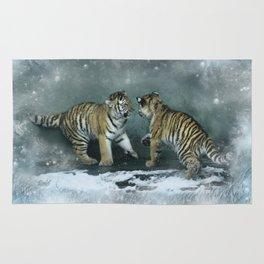 Playful Tiger Cubs Rug