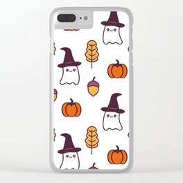 cute cartoon halloween pattern background with ghosts, pumpkins, leaves and acorns Clear iPhone Case