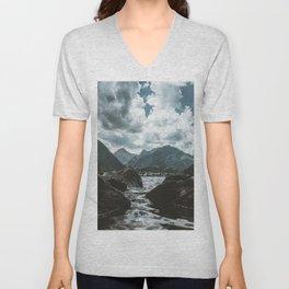 Mountains under cloudy sky Unisex V-Neck
