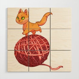Kitten On Yan Wood Wall Art