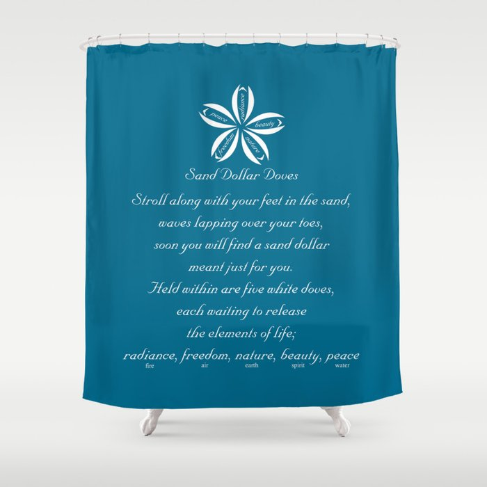 Sand Dollar Doves Poem And Talisman Shower Curtain