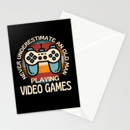 Old Man Playing Video Games Stationery Cards