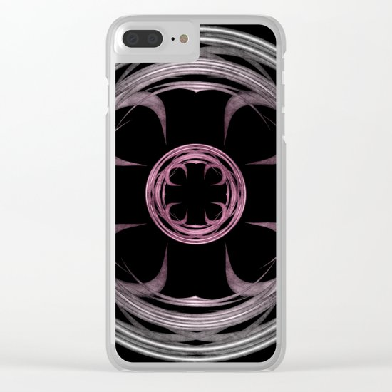 Mandala, silver, purple and pink Clear iPhone Case