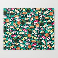 Sushi Aqua Canvas Print