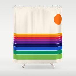 Coolie - retro 70s style throwback sunset sunrise socal cali beach vibes Shower Curtain