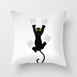 Cat grabing with claws Throw Pillow