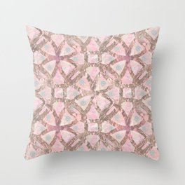 copper circles with flower 02 Throw Pillow