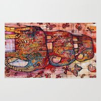 elephants Area & Throw Rugs featuring Elephants by oxana zaika