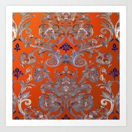 Painted Tibetan Brocade orange Art Print