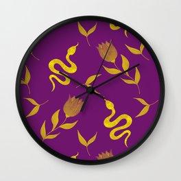 Golden snakes, blooming summer pink roses and lush leaves modern botanical and animal elegant distressed dark moody plum purple design. Wall Clock