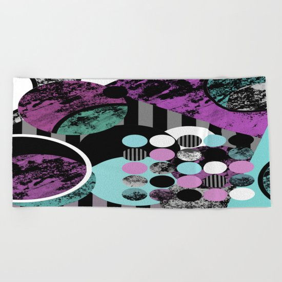 Bits N Pieces II - Abstract, geometric, textured, stripes, cyan, blue, pink, black, artwork Beach Towel