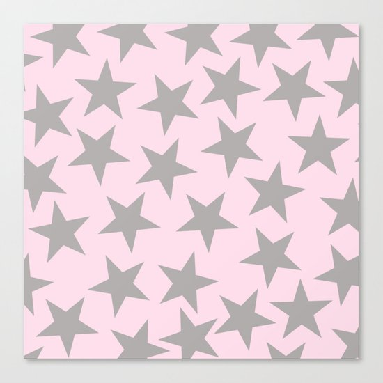 Grey stars on pink background pattern Canvas Print